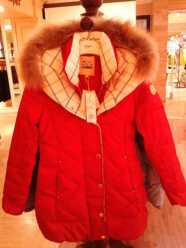 2014拉夏贝尔candies专柜正品代购大毛领中长款羽绒服女30003957