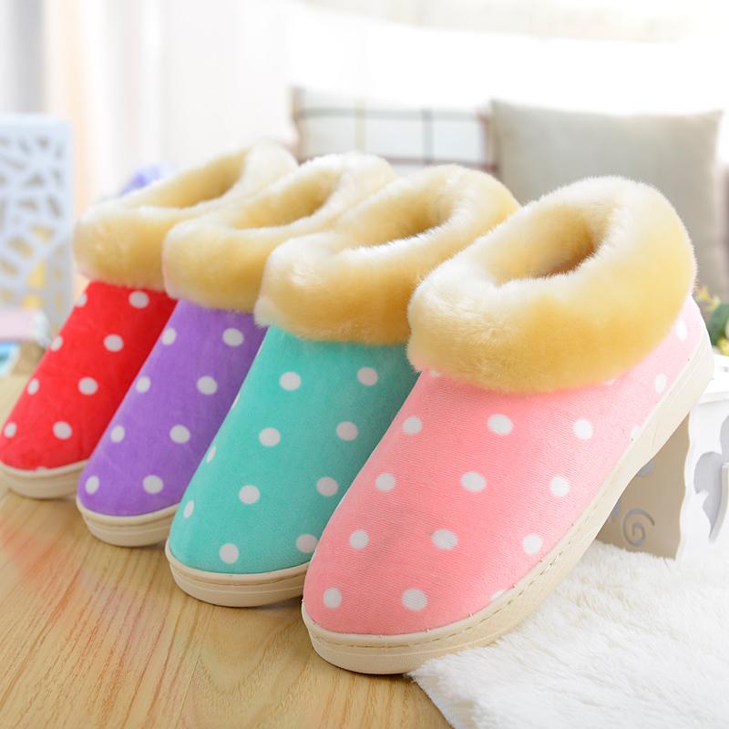安尚芬冬季居家可爱冬天保暖毛地板拖鞋家居情侣棉拖鞋