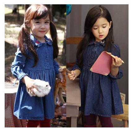 童装 女童连衣裙2014秋季新款韩版樱桃兔子绣花牛仔长袖连衣裙