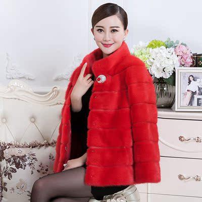 [皮草] 亚洲羊2015冬季新款貂皮大衣女款整貂 长袖水貂整貂皮草外套短款