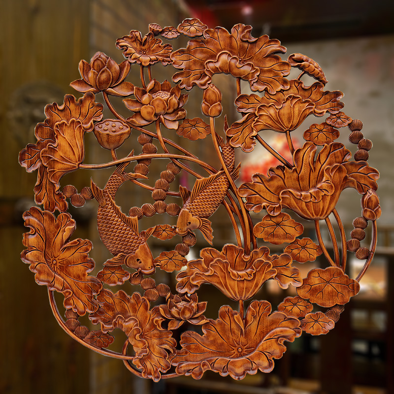 香樟木头雕刻画工艺品中式客厅实木质