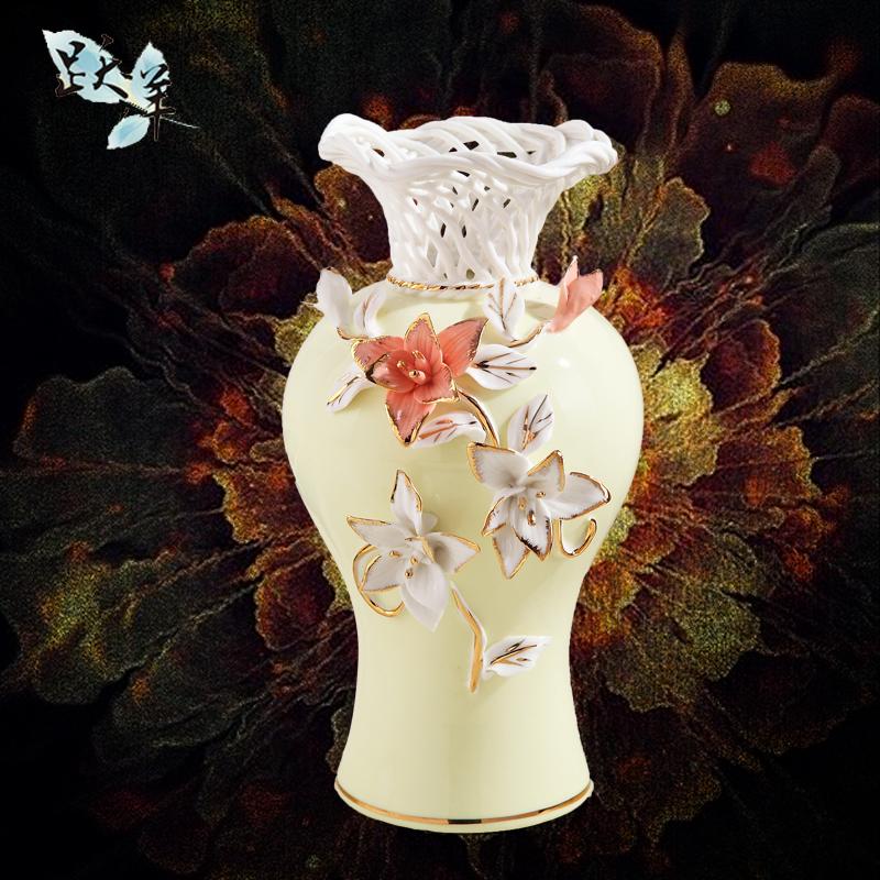 景德镇陶瓷器客厅装饰摆件创意简约工艺品欧式插花瓶桌面陶瓷摆件