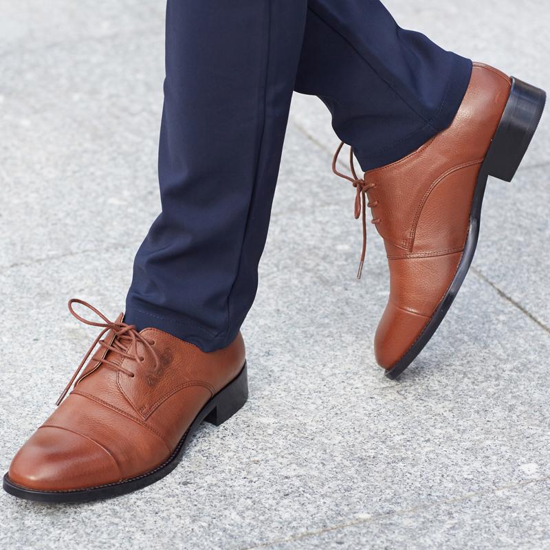 武士龍B03 真皮头层皮男士皮鞋英伦风复古黑色商务正装皮鞋