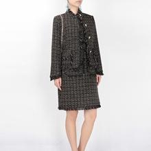 短外套 打底背心裙 复古英伦风17秋冬高端金丝粗花呢OL两件套长袖