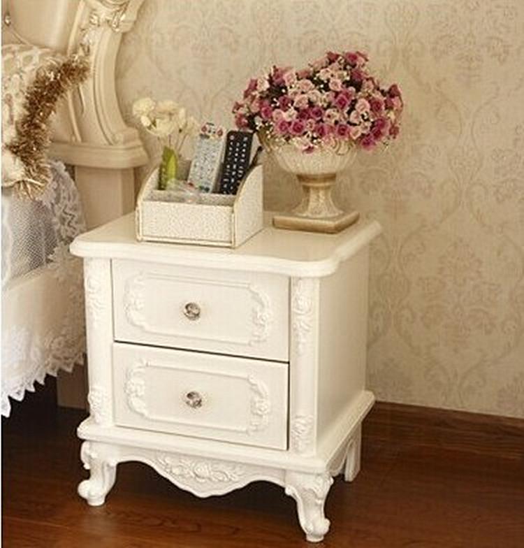 法式欧式烤漆床头柜简约现代象牙白色