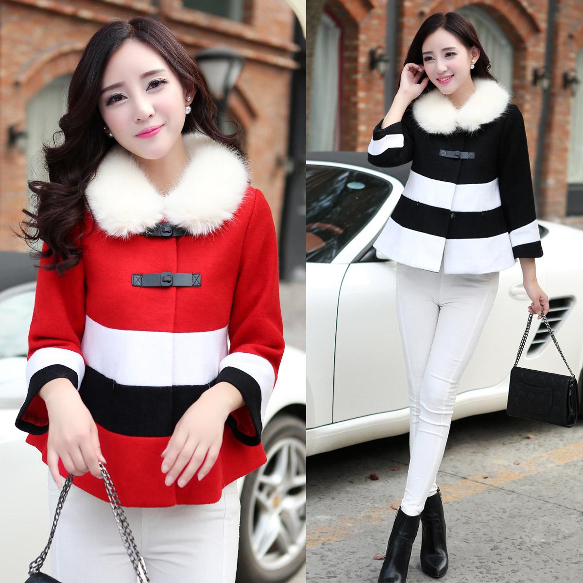 冬季新款韩版淑女装OL潮气质A字版 撞色条纹短款毛呢外套呢子大衣