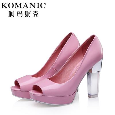 柯玛妮克/Komanic 新款舒适羊皮女鞋子 鱼嘴透明粗高跟单鞋K49636