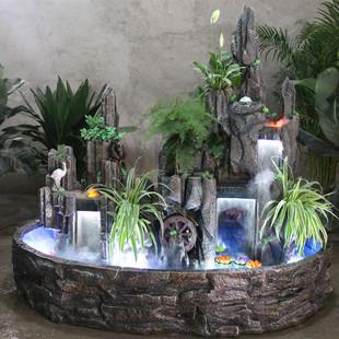 包邮大型假山流水喷泉鱼池摆件瀑布水景鱼缸客厅阳台酒店会装饰图片