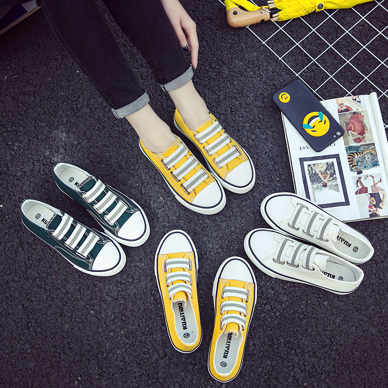帆布鞋百搭板鞋韓版小白鞋春季平底女鞋學生懶人腳蹬