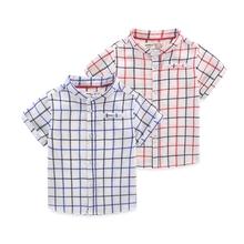 格子上衣潮童装 衣服 2017宝宝夏装 衬衫 儿童立领衬衣 新款 男童短袖