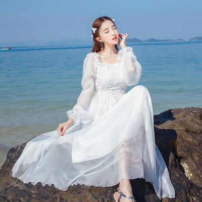 雪纺沙滩裙海边度假必备长袖白色连衣裙夏小清新长裙子飘逸仙女裙