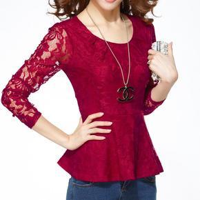 2015春秋新款蕾丝衫打底衫女装韩版雪纺衫修身圆领长袖t恤上衣夏