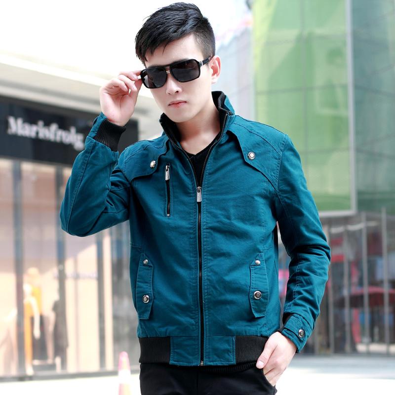 春秋装新款2014青少年潮流夹克上装韩版修身休闲男士外套薄款外衣