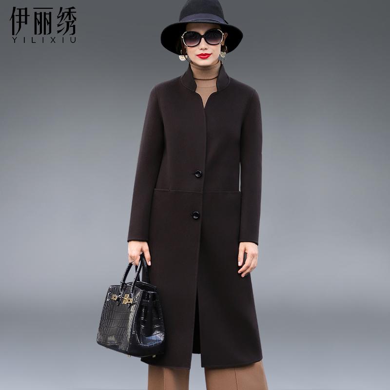 伊丽绣双面羊毛大衣女中长款羊毛呢外套2016冬季新款呢子女装修身