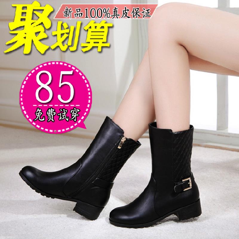 冬季马丁靴女中跟短靴女平底英伦风真皮厚底中筒侧拉链女棉鞋子潮