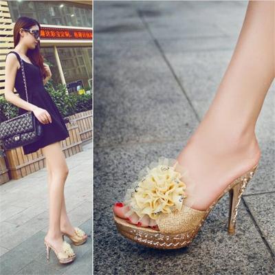 2015夏季新款凉鞋一字型超高跟细跟花朵鱼嘴防水台单跟女凉拖鞋