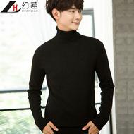 秋冬男士高领毛衣修身韩版套头打底衫加厚保暖纯色紧身针织衫潮