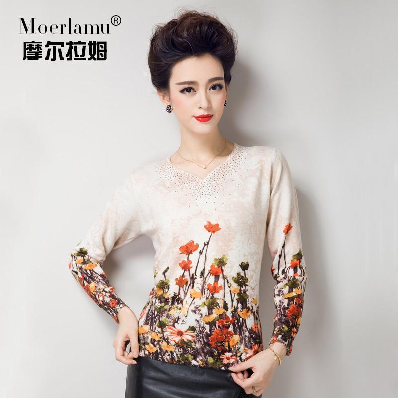摩尔拉姆2014秋冬新款羊绒衫 女V领印花正品鄂尔多斯套头修身毛衣