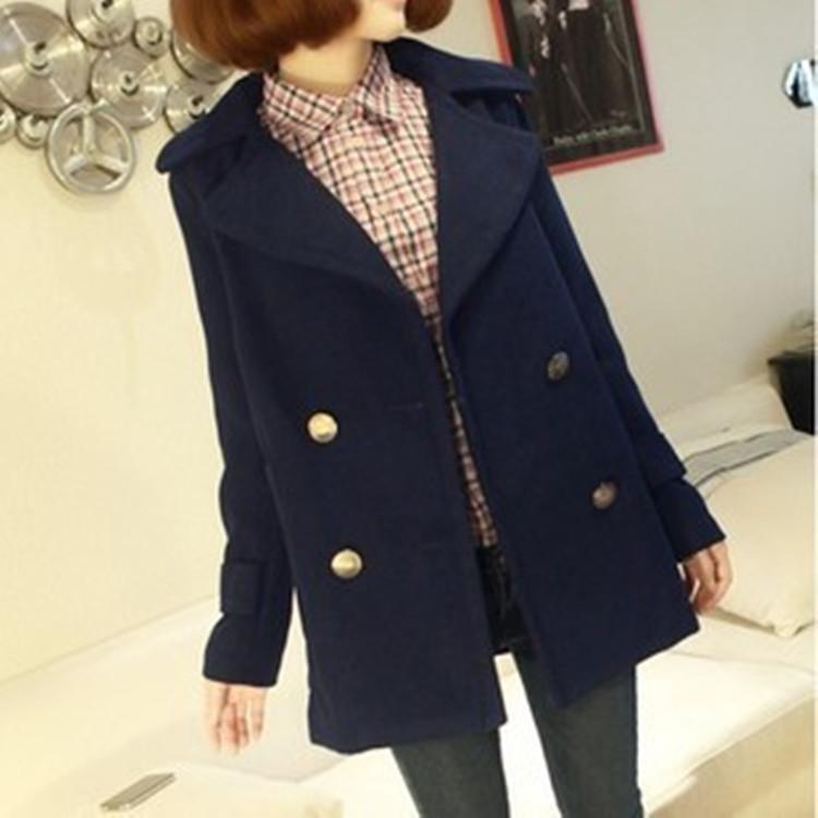 2014欧美大码大衣加厚毛呢女士外套 中长款女装韩版纯色冬装新款