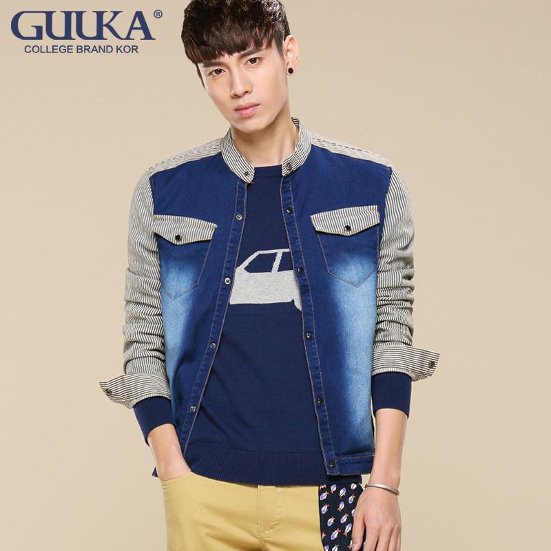 2014新款男士夹克外套立领拼接棉质学院风青少年男装开衫外套条纹