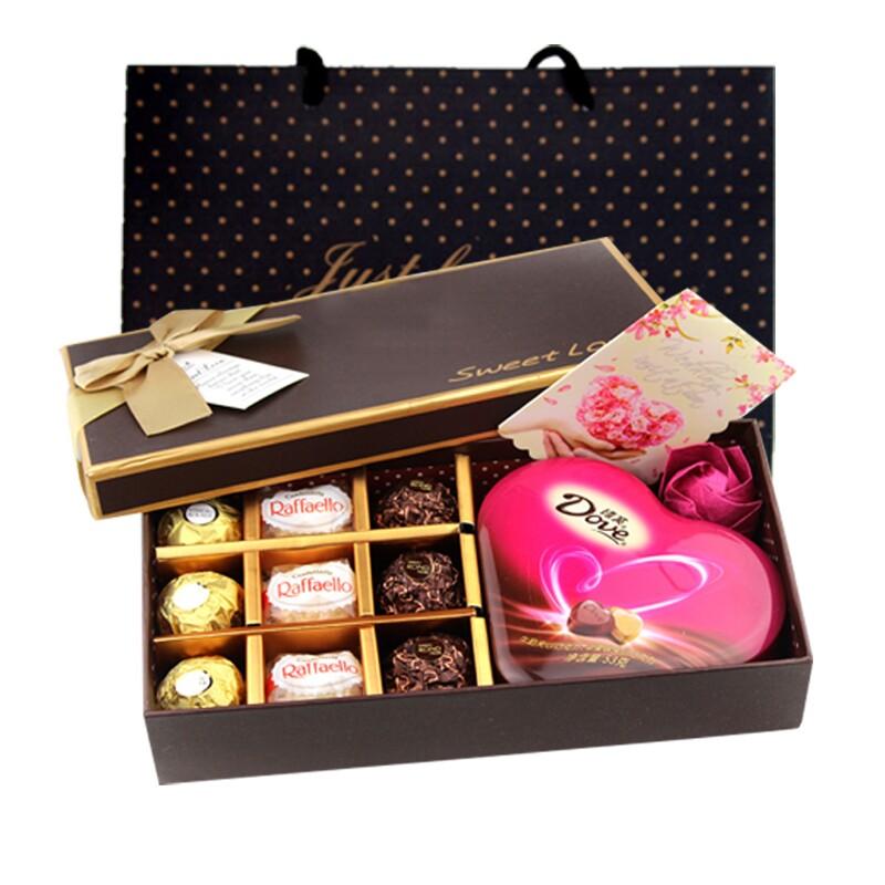 包邮德芙费列罗巧克力礼盒装送玫瑰 生日情人节礼物