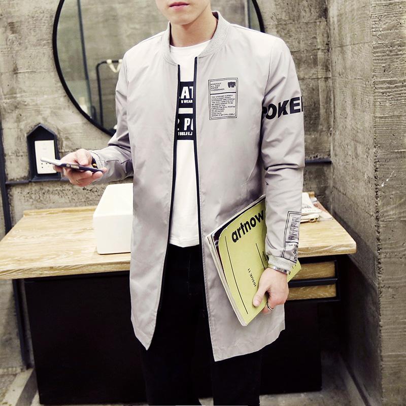 2016韩版春季中长款衣服男士风衣休闲大衣男装英伦新款潮修身外套
