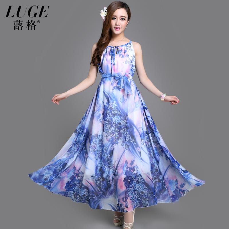 �格2015夏新款雪纺大摆裙时尚波西米亚连衣裙优雅两穿印花沙滩裙