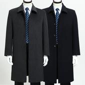 高档毛呢大衣加长款外套 中年男士风衣大衣 商务羊绒大衣父亲装潮