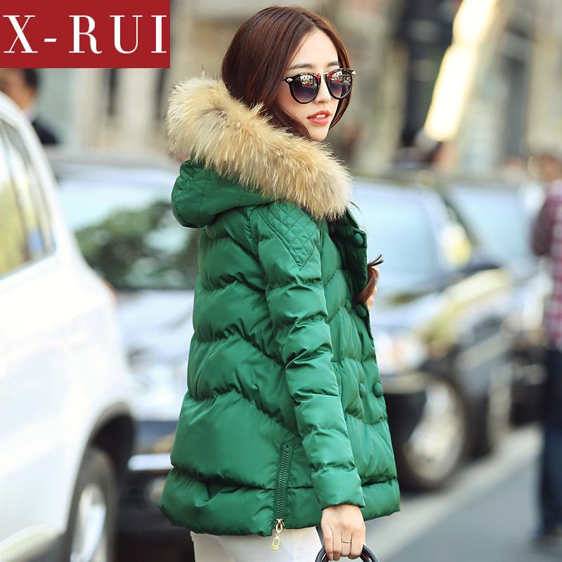 棉衣 女xrui秋冬装新款中长款棉服外套韩版潮糖果色毛领连帽棉衣