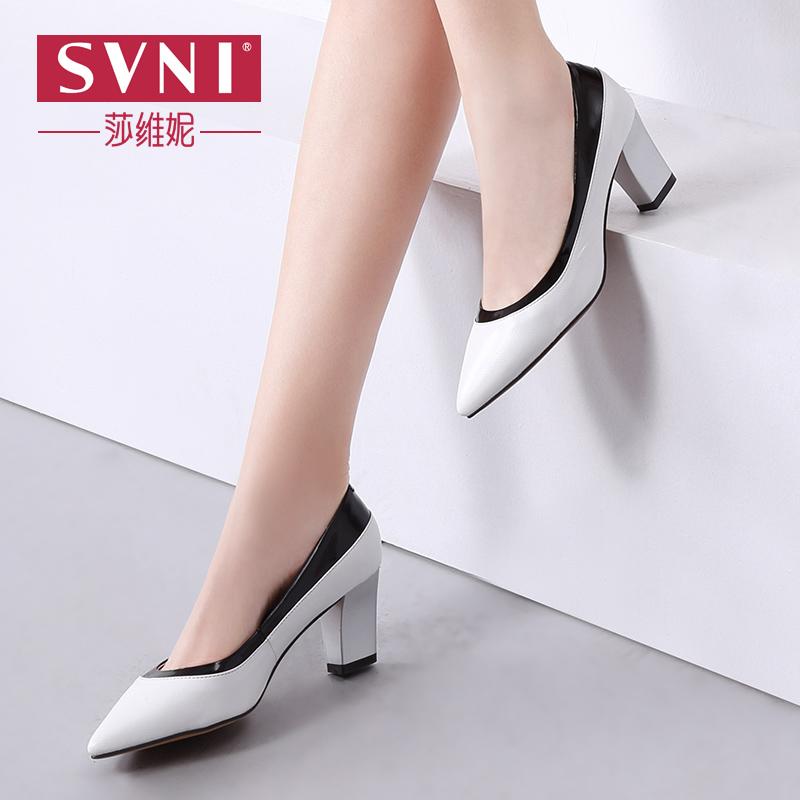 SVNI/莎维妮 新款真皮女鞋 时尚欧美尖头女单鞋 粗高跟浅口职业鞋