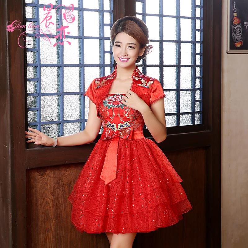 晨恋新款2014秋装复古短袖改良时尚蕾丝红色旗袍裙两件套新娘装