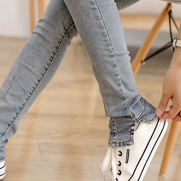 韩版范烟灰色秋季学生紧身修身牛仔裤女装显瘦小脚长裤2014新款潮