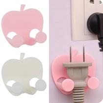 创意苹果造型粘贴式插座挂钩家用电器插头挂钩电源线插头整理挂架