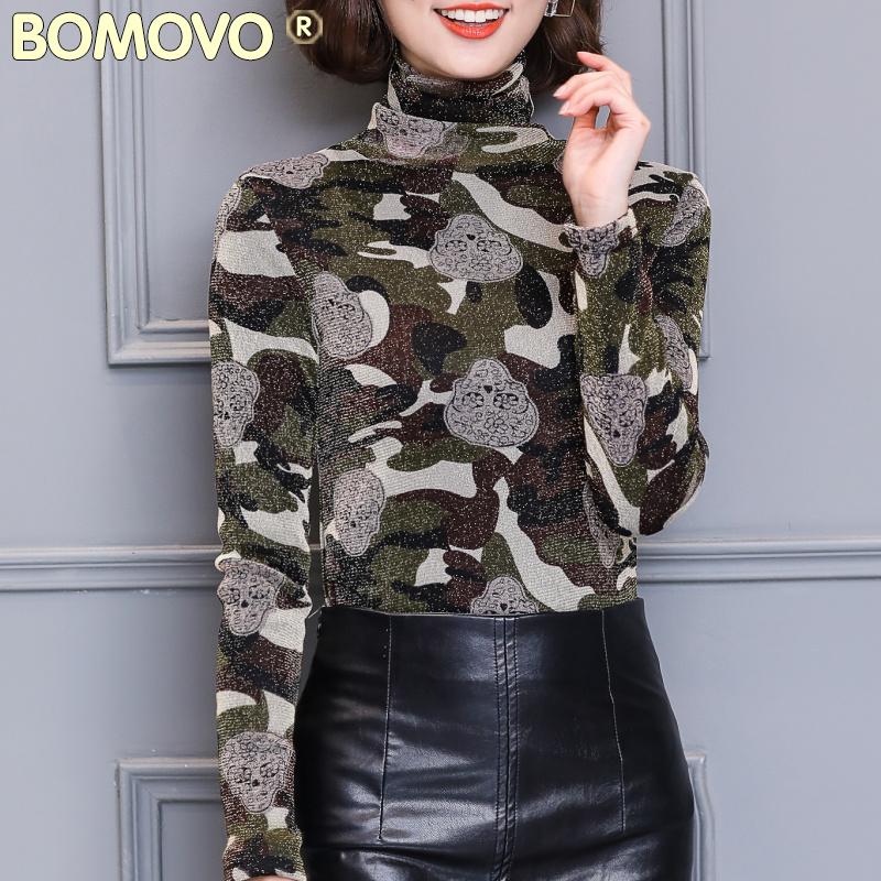 Bomovo清仓冬季欧美女装时尚气质花纹高领修身加绒加厚打底衫上衣