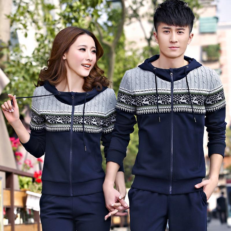 秋冬季新款情侣装加大加肥男士运动服 休闲加绒女士修身套装春款