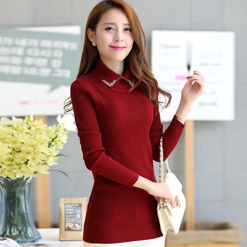 毛衣女2014新款秋冬装套头毛衣外套韩版长袖打底衫修身针织衫女潮