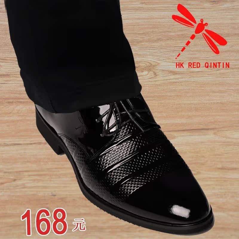 高档牛皮男士皮鞋漆光套脚商务正装结婚皮鞋正品真皮男单鞋