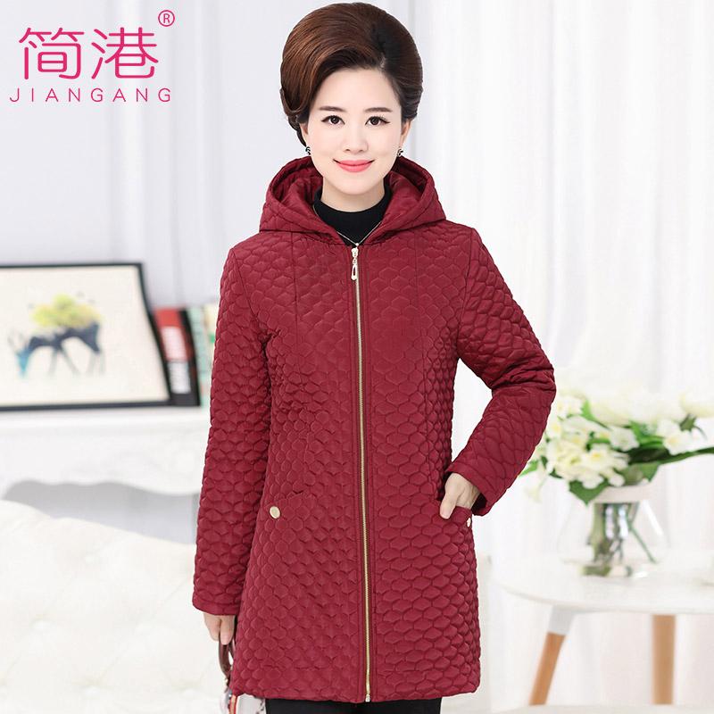 中老年女装冬装中长款保暖棉衣外套冬季中年妈妈装修身连帽棉服
