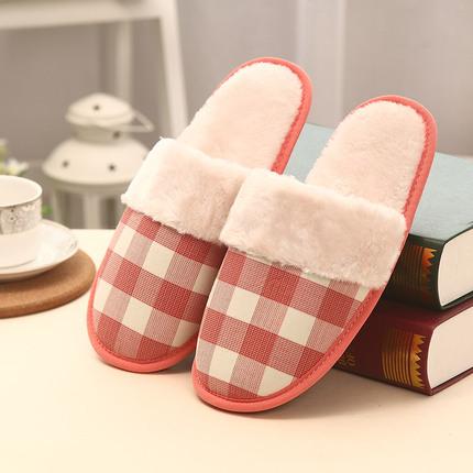 家居冬季情侣厚底居家室内保暖毛绒可爱防滑男女办公室奶牛棉拖鞋