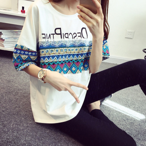 YRHG2015夏装新款韩版女装宽松圆领女士上衣蕾丝短袖夏季T恤女潮