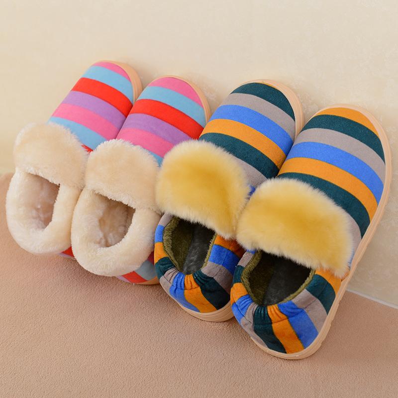 冬季拖鞋居家室内冬天家居防滑情侣厚底保暖棉拖鞋包跟女男地板拖