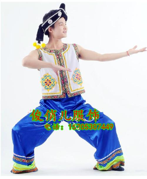 民族舞台表演服苗族男装黎族民族舞蹈服装彝族壮族苗族服装男图片