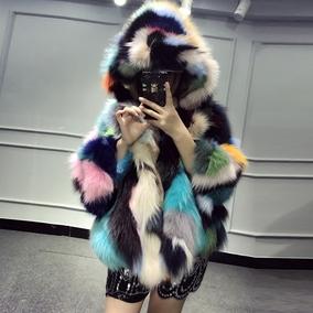 火焰皇后  皮草女 进口整皮狐狸毛皮草外套超大帽子宽松娃娃版004