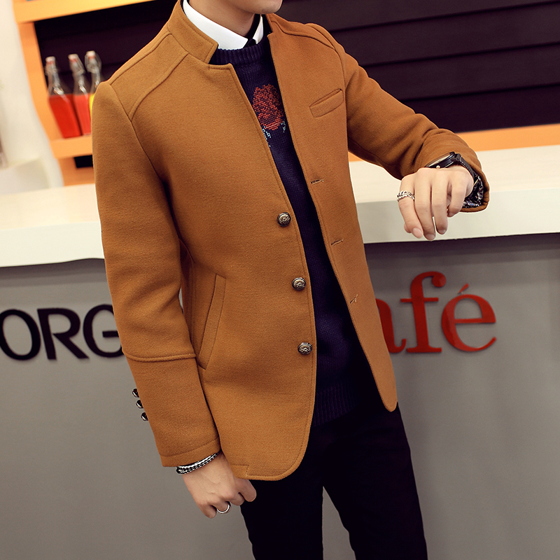 韩版秋冬季男士呢料中长款风衣男青少年修身男式大衣大码男装外套