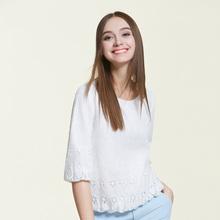A12117 蕾丝衫 简约淑女圆领五分袖 OSA欧莎2016春季新品