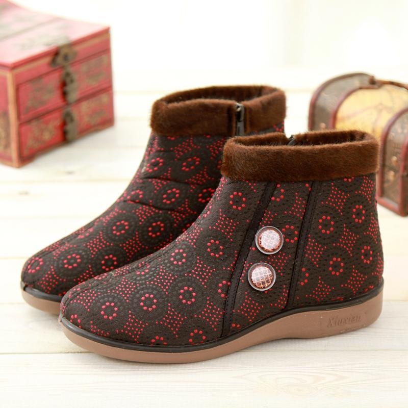 京特老北京布鞋女鞋中老年棉靴 女款妈妈棉鞋平底冬鞋软底短靴子