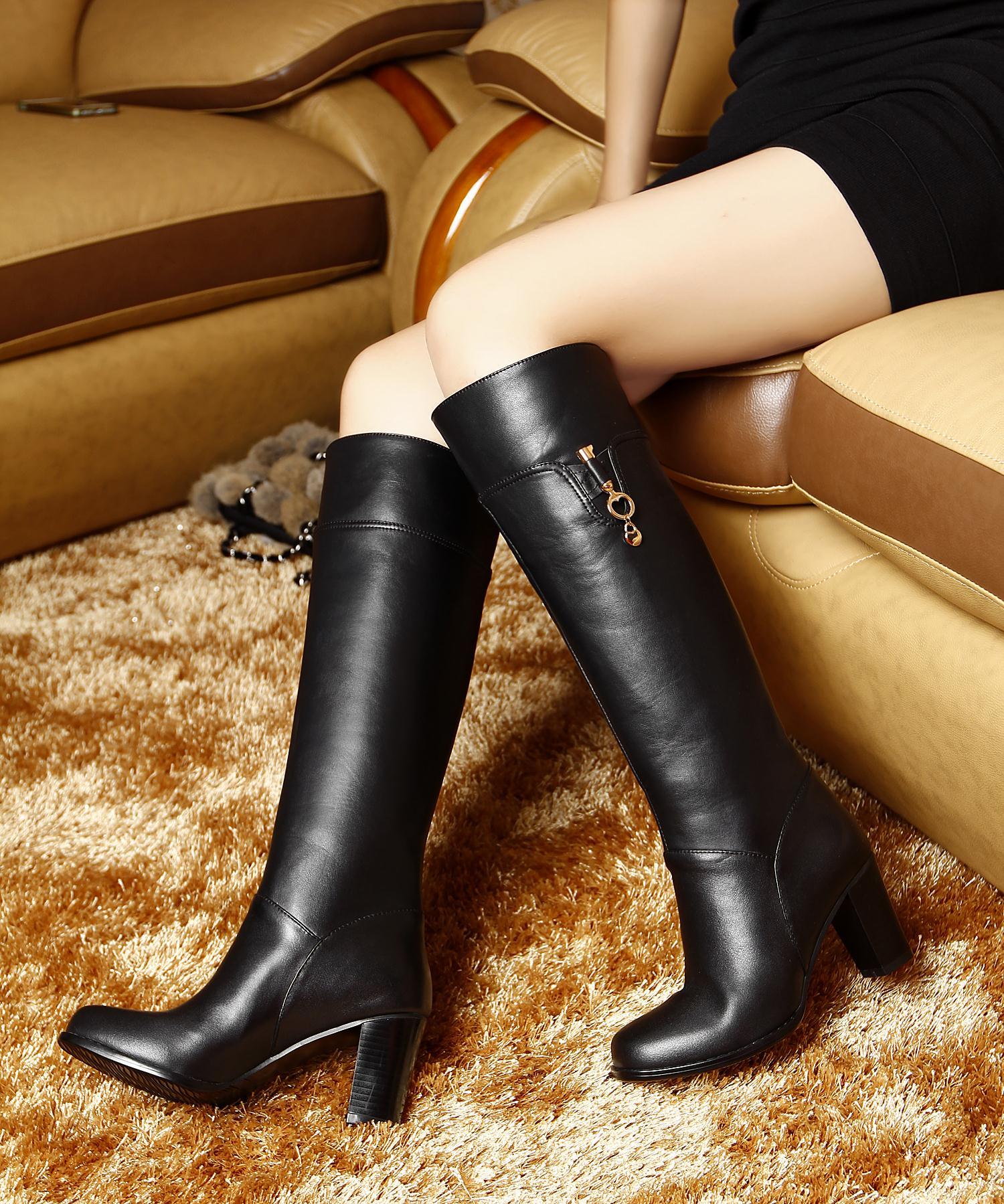 2014秋冬季新款订做胖mm加肥女靴大筒围高筒靴真皮大小码粗跟靴子