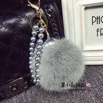 韩国10cm超大獭兔毛毛球钥匙扣 创意汽车钥匙链珍珠链子时尚车挂