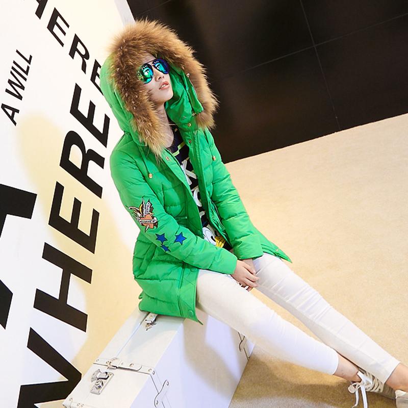 2014冬装新款大毛领休闲连帽学生棉衣女纯色中长款修身韩版外套潮
