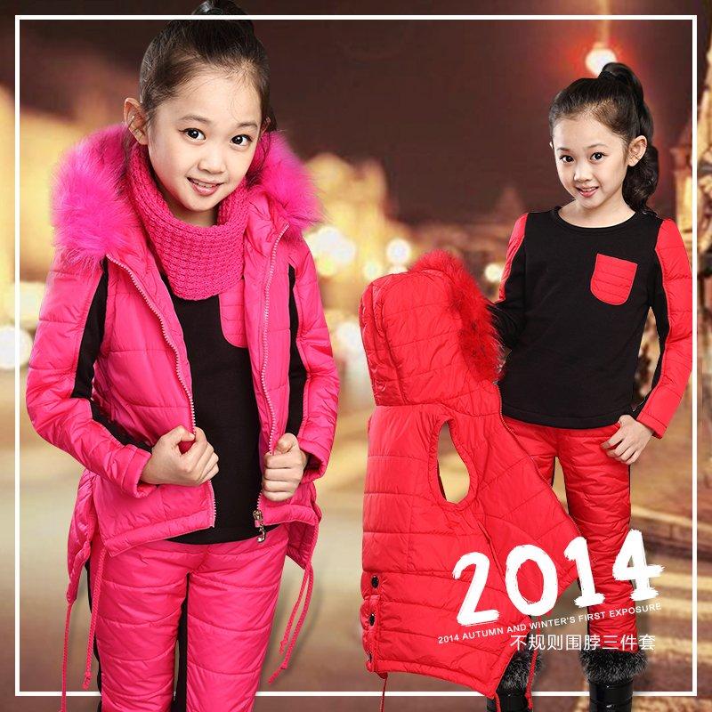新款中大童装冬装13岁女童卫衣三件套加厚儿童宝宝羽绒棉衣服套装